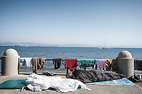 Makeshift encampments along the waterfront. Kos, Greece. Sept. 5, 2015