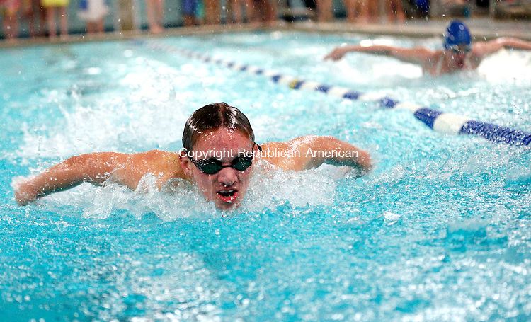 Washington, CT- 18 February 2015-021815CM08-  Northwestern's Connor Campbell competes in the 200 yard IM during a meet against Shepaug in Washington on Wednesday.  Christopher Massa Republican-American