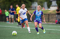 Allston, MA - Sunday July 31, 2016: Brittany Ratcliffe, Camille Levin during a regular season National Women's Soccer League (NWSL) match between the Boston Breakers and the Orlando Pride at Jordan Field.