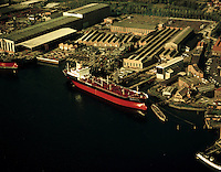Oktober 1972. Boelwerf in Temse. Schip Mando V.