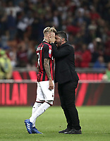 Calcio, Serie A: AC Milan - AS Roma, Milano stadio Giuseppe Meazza (San Siro) 31 agosto 2018. <br /> AC Milan's coach Gennaro Gattuso (r) celebrates with his player Samuel Castillejo (l) after winning 2-1 the Italian Serie A football match between Milan and Roma at Giuseppe Meazza stadium, August 31, 2018. <br /> UPDATE IMAGES PRESS/Isabella Bonotto