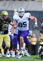 18 October 08: Kansas State tight end Jeron Mastrud on a play against Colorado. The Colorado Buffaloes defeated the Kansas State Wildcats 14-13 at Folsom Field in Boulder, Colorado.