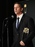 MIAMI, FL - FEBRUARY 1: Baltimore Raven's John Harbaugh winning the AP Coach of the Year at the 2020 NFL Honors at the Ziff Ballet Opera House during Super Bowl LIV week on February 1, 2020 in Miami, Florida. (Photo by Anthony Behar/Fox Sports/PictureGroup)