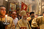 Israel, Jerusalem Old City, Coptic procession after the Ceremony of the Holy Light at the Church of the Holy Sepulchre on Holy Saturday. Easter
