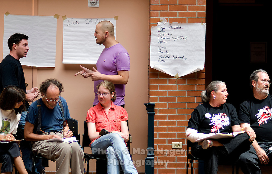 Members of various protest groups meet for a Consulta at the Tivoli Student Union in Denver, Colorado to discuss updates, schedules, and concerns for the upcoming protests for the Democratic Nation in Convention Sunday, August 10, 2008...PHOTOS/ Matt Nager