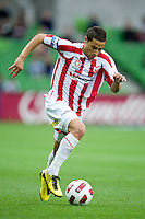 MELBOURNE, AUSTRALIA - NOVEMBER 14: Adrian Zahra of the Heart controls the ball during the round 14 A-League match between the Melbourne Heart and Brisbane Roar at AAMI Park on November 14, 2010 in Melbourne, Australia (Photo by Sydney Low / Asterisk Images)