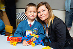 Filip Kozeva from Gallowsfield, Tralee pictured with his mom Agnes Kozera excited about his first day of school at Scoil Eoin Balloonagh on Thursday