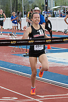 Linn-Mar's (IA)  Stephanie Jenks wins the 1600-meters on their way to personal bests and the fastest time in the country at the 2015 Kansas Relays on Friday, April 17, in Lawrence, Ks. Jenks won in 4:40.78 and earned a berth to the Adidas Grand Prix Dream Mile race in New York City in June.