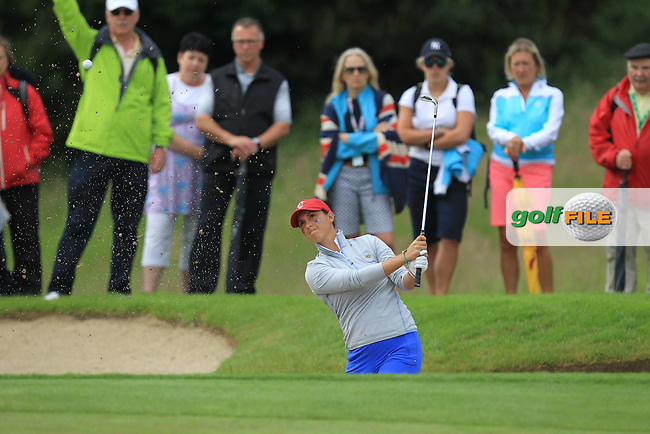 Monica Vaughn on the 9th during the Saturday Afternoon Fourballs of the 2016 Curtis Cup at Dun Laoghaire Golf Club on Saturday 11th June 2016.<br /> Picture:  Golffile | Thos Caffrey