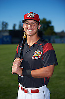 Batavia Muckdogs Branden Berry (35) poses for a photo before a game against the Hudson Valley Renegades on August 2, 2016 at Dwyer Stadium in Batavia, New York.  Batavia defeated Hudson Valley 2-1. (Mike Janes/Four Seam Images)