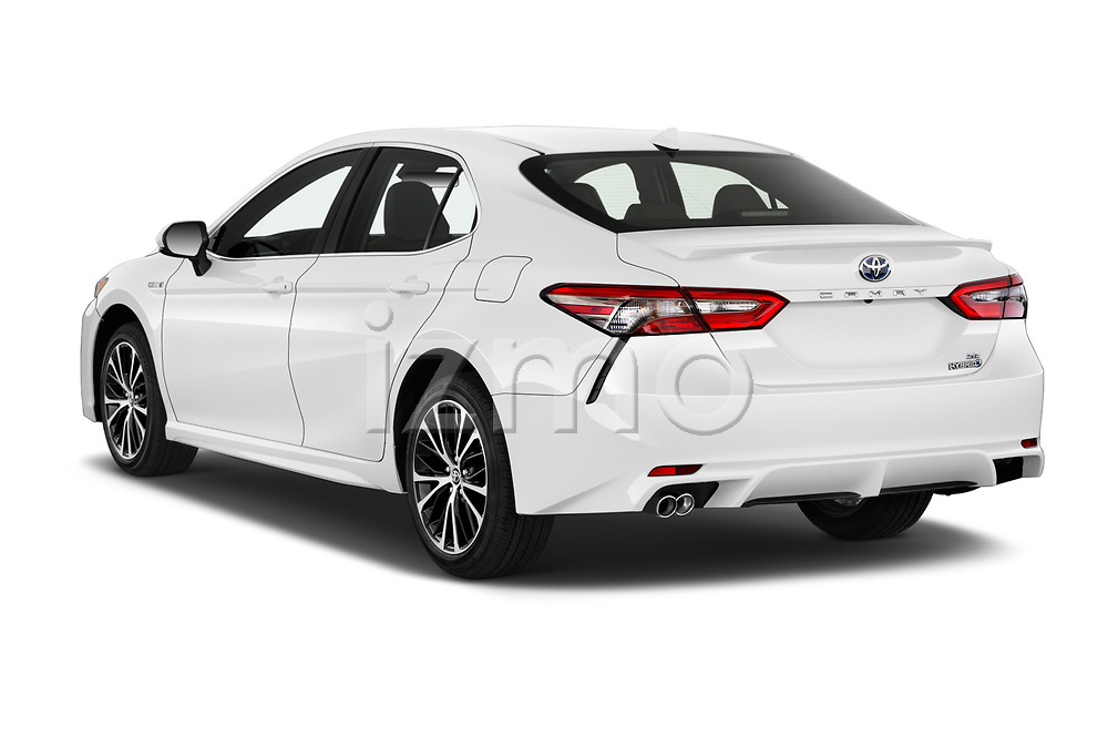 Car pictures of rear three quarter view of a 2019 Toyota Camry Hybrid SE 4 Door Sedan angular rear