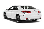 Car pictures of rear three quarter view of a 2018 Toyota Camry Hybrid SE 4 Door Sedan angular rear