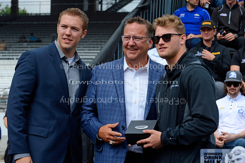 Verizon IndyCar Series<br /> Indianapolis 500 Drivers Meeting<br /> Indianapolis Motor Speedway, Indianapolis, IN USA<br /> Saturday 27 May 2017<br /> Starter's ring presentation: Sage Karam, Dreyer &amp; Reinbold Racing Chevrolet<br /> World Copyright: F. Peirce Williams