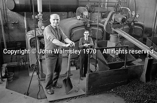 School caretakers in the boilerhouse, Whitworth Comprehensive School, Whitworth, Lancashire.  1970.