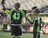 Will Manny #4 of the New York Lizards, right, and teammate Ryan Walsh #43 celebrate after a goal by Manny in the second quarter of a Major League Lacrosse game against the Ohio Machine at Shuart Stadium in Hempstead, NY on Thursday, June 29, 2017.