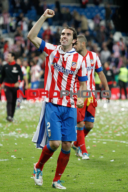 Atletico de Madrid's Diego Godin celebrates the victory in spanish KIng's Cup Final match.May 17,2013. Foto © nph / Acero)