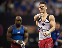 Lukas Dauser (GER) celebrates on completing his routine in the mens Horizontal Bar competition.  FIG World Cup Series of Gymnastics. The O2 Arena, London,  Britain 8th April 2017.