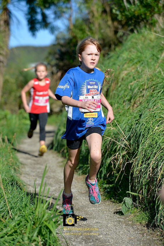 Action from Athletics Wellington - Kids Cross Country at Karori Park, Wellington, New Zealand on Sunday 11 May 2014. <br /> Photo by Masanori Udagawa. <br /> www.photowellington.photoshelter.com.