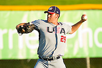 Matt Boyd #29 (Oregon State) of the USA Baseball Collegiate National Team throws in the outfield prior to the game against the Gastonia Grizzlies at Sims Legion Park on June 30, 2011 in Gastonia, North Carolina.  Team USA defeated the Grizzlies 12-5.  Brian Westerholt / Four Seam Images