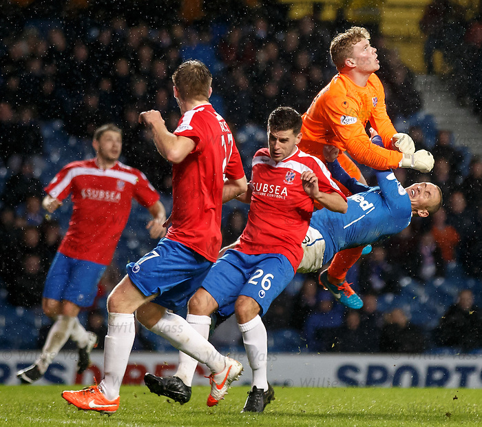 Rangers striker Kenny Miller flattened by keeper Robbie Thomson