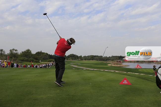 Victor Dubuisson (FRA) tees off the 18th tee during Sunday's Final Round of the Abu Dhabi HSBC Golf Championship 2015 held at the Abu Dhabi Golf Course, United Arab Emirates. 18th January 2015.<br /> Picture: Eoin Clarke www.golffile.ie