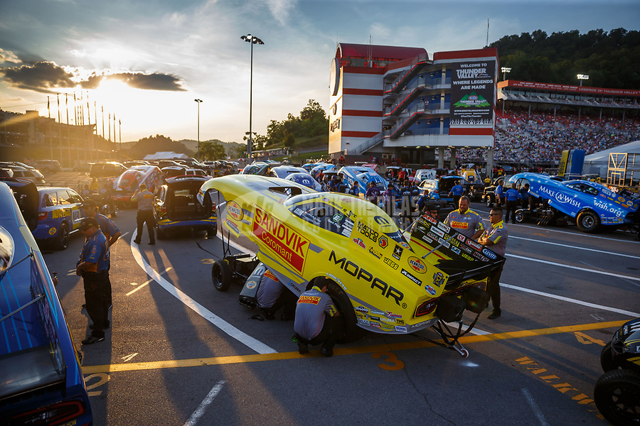 Jun 16, 2017; Bristol, TN, USA; NHRA funny car driver Matt Hagan during qualifying for the Thunder Valley Nationals at Bristol Dragway. Mandatory Credit: Mark J. Rebilas-USA TODAY Sports
