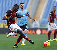 Calcio, Serie A: Roma vs Lazio. Roma, stadio Olimpico, 8 novembre 2015.<br /> Roma's Antonio Ruediger kicks the ball during the Italian Serie A football match between Roma and Lazio at Rome's Olympic stadium, 8 November 2015.<br /> UPDATE IMAGES PRESS/Isabella Bonotto