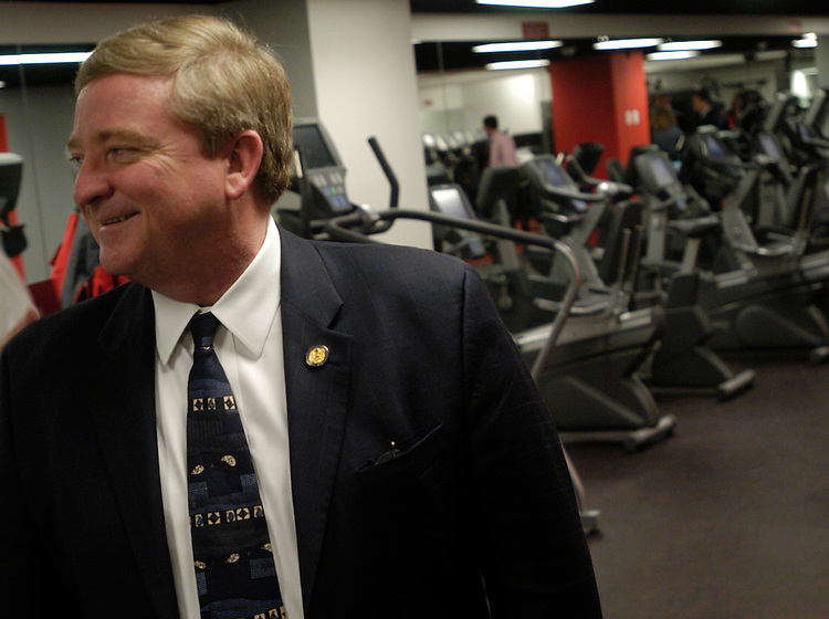 Rep. Bob Ney, R-Ohio, at the newly opened House Staff Fitness Center in Rayburn.