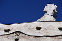 Undulating Cornice with the letter M of Milà; Plaster Ceiling; Chimney covered with ceramics, Roof, La Pedrera (Casa Milà), Barcelona, Catalonia, Spain, built by Antoni Gaudí (Reus 1852 ? Barcelona 1926), 1906 - 1910, for the Milà Family, with Josep Maria Jujol as architect collaborator and with Joan Beltran as a plaster. One of the main Gaudi residential buildings. Picture by Manuel Cohen