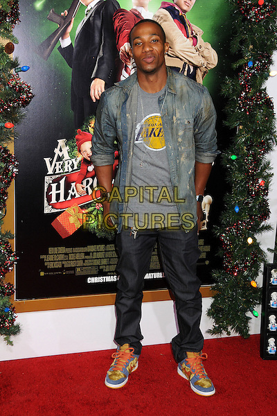 Arlen Escarpeta.'A Very Harold & Kumar 3D Christmas' Los Angeles premiere, Grauman's Chinese Theatre, Hollywood, California, USA..2nd November 2011.full length jeans denim grey gray top lakers jean jacket.CAP/ADM/BP.©Byron Purvis/AdMedia/Capital Pictures.