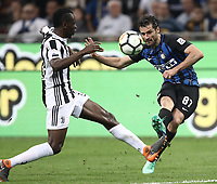 Calcio, Serie A: Inter - Juventus, Milano, stadio Giuseppe Meazza (San Siro), 28 aprile 2018.<br /> Intro's Antonio Candreva (r) in action with Juventus' Blaise Matuidi (l) during the Italian Serie A football match between Inter Milan and Juventus at Giuseppe Meazza (San Siro) stadium, April 28, 2018.<br /> UPDATE IMAGES PRESS/Isabella Bonotto