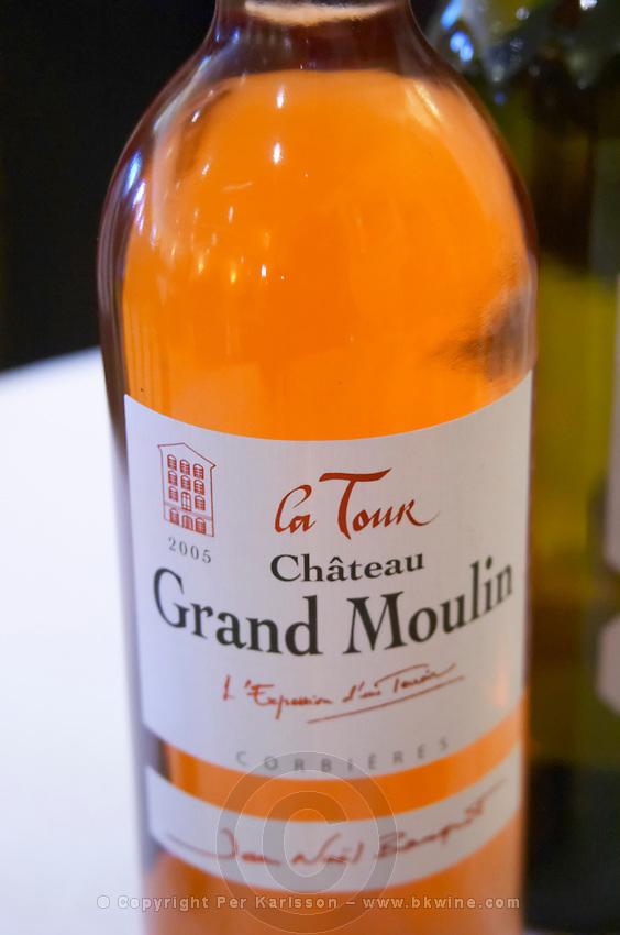 Rose La Tour Grand Moulin. Chateau Grand Moulin. In Lezignan-Corbieres. Les Corbieres. Languedoc. France. Europe. Bottle.