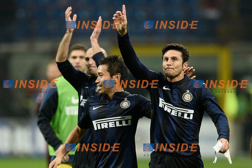 Yuto Nagatomo, Javier Zanetti Inter - Milano 09/11/2013 - Football Calcio Serie A 2013/2014 - Inter - Livorno Foto Image Sport/Insidefoto