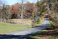 Stock photo - Sloped road surrounded by gorgeous fall trees on Blue Ridge Parkway in autumn , North Carolina, United States.