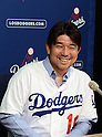 Hideo Nomo, AUGUST 10, 2013 - MLB : Former Los Angeles Dodgers starting pitcher Hideo Nomo attends a press conference during the Major League Baseball game between the Tampa Bay Rays and the Los Angeles Dodgers at Dodger Stadium in Los Angeles, California, United States. (Photo by AFLO)