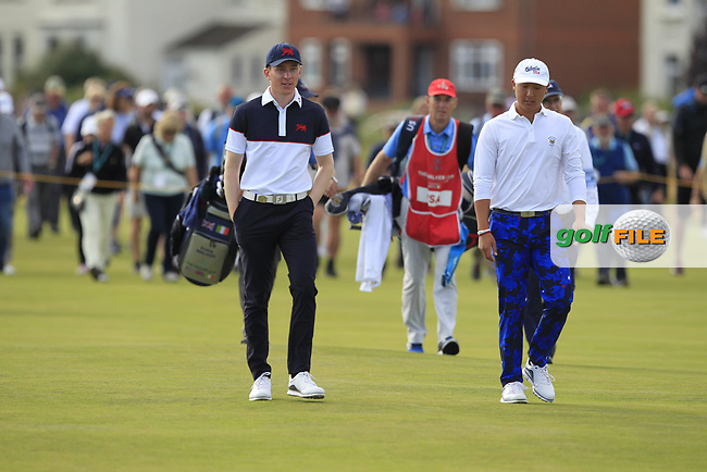 Euan Walker (GB&I) and John Pak (USA) on the 16th during Day 2 Singles at the Walker Cup, Royal Liverpool Golf CLub, Hoylake, Cheshire, England. 08/09/2019.<br /> Picture Thos Caffrey / Golffile.ie<br /> <br /> All photo usage must carry mandatory copyright credit (© Golffile   Thos Caffrey)