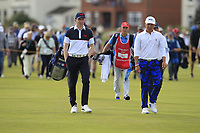 Euan Walker (GB&I) and John Pak (USA) on the 16th during Day 2 Singles at the Walker Cup, Royal Liverpool Golf CLub, Hoylake, Cheshire, England. 08/09/2019.<br /> Picture Thos Caffrey / Golffile.ie<br /> <br /> All photo usage must carry mandatory copyright credit (© Golffile | Thos Caffrey)