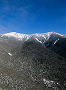 Franconia Ridge from Old Bridle Path in the White Mountains, New Hampshire USA during the winter months. The Appalachian Trail travels over this ridge.