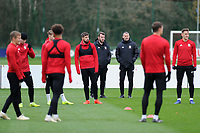 Ryan Giggs (Centre) Manager of Wales watches on during the Wales Training Session at The Vale Resort, Hensol, Wales, UK. Monday 19 November 2018