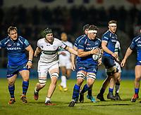 6th March 2020; AJ Bell Stadium, Salford, Lancashire, England; Premiership Rugby, Sale Sharks versus London Irish; Jono Ross of Sale Sharks breaks away from Ben Donnell of London Irish