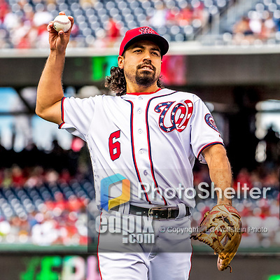 8 July 2017: Washington Nationals third baseman Anthony Rendon warms up his arm prior to a game against the Atlanta Braves at Nationals Park in Washington, DC. The Braves shut out the Nationals 13-0 to take the third game of their 4-game series. Mandatory Credit: Ed Wolfstein Photo *** RAW (NEF) Image File Available ***