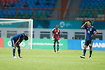 (L to R) <br /> Teruki Hara, <br />   Obi Powell Obinna, <br />  Yugo Tatsuta (JPN), <br /> AUGUST 19, 2018 - Football / Soccer : <br /> Men's Group D match <br /> between Japan 0-1 Vietnam <br /> at Wibawa Mukti Stadium <br /> during the 2018 Jakarta Palembang Asian Games <br /> in Cikarang, Indonesia. <br /> (Photo by Naoki Morita/AFLO SPORT)