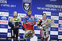 MOTORSPORT: HEERENVEEN: 31-03-2017, IJsstadion Thialf, IJsspeedway Roelof Thijs Bokaal, Roelof Thijs met winnaar Eduard Krysov (RUS), 2) Charly Ebner (AUT), 1) Eduard Krysov (RUS), 3) Martin Haarahiltunen (SWE), ©foto Martin de Jong