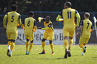 Eman Okunja of Hullbridge scores and celebrates during Ilford vs Hullbridge Sports, Essex Senior League Football at Cricklefields Stadium on 13th April 2019