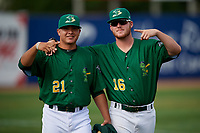Beloit Snappers pitcher Jesus Zambrano (21) and pitcher Jared Poche' (16) pose for a photo after a game against the Dayton Dragons on July 22, 2018 at Pohlman Field in Beloit, Wisconsin.  Dayton defeated Beloit 2-1.  (Mike Janes/Four Seam Images)