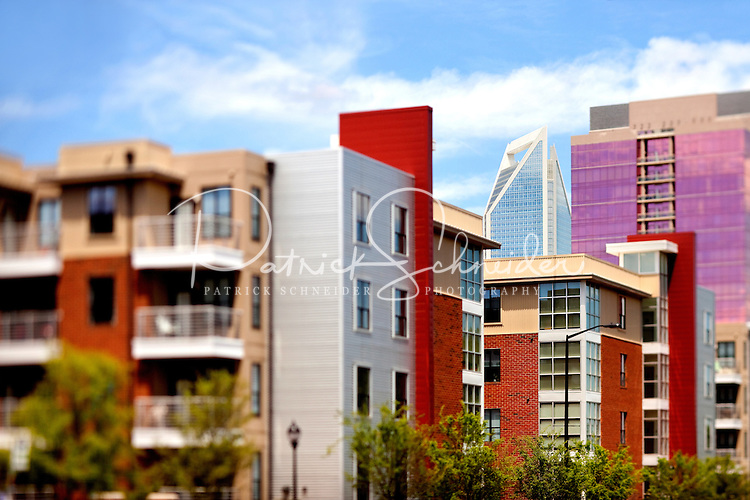 Part of a photography collection showing the variety of architectural styles of homes, apartments and condos in metropolitan Charlotte, NC. Image taken in Circle at South End Apartment Homes.