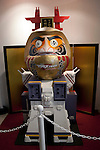 Macross, May 1st 2012, Tokyo, Japan -  Japanese traditional doll (Daruma) as a Macross robot. Macross was a popular science fiction animation series that started in 1982. The 30th Anniversary of Macross exposition was held at Sunshine City in the Ikebukuro Ward of Tokyo.