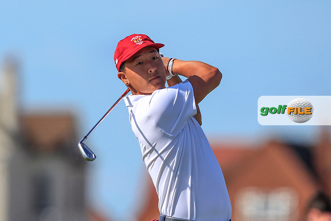 John Pak (USA) on the 2nd tee during Day 1 Singles of the Walker Cup at Royal Liverpool Golf CLub, Hoylake, Cheshire, England. 07/09/2019.<br /> Picture: Thos Caffrey / Golffile.ie<br /> <br /> All photo usage must carry mandatory copyright credit (© Golffile | Thos Caffrey)