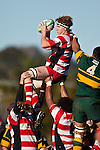 Andrew McConchie claims lineout ball. Counties Manukau Premier Club Rugby semi final game between Pukekohe and Karaka, played at Colin Lawrie Fields Pukekohe on Saturday July 10th 2010.Pukekohe won 44 - 20 and will meet Waiuku in next weeks final at Growers Stadium.