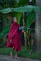 Monk walking on residential street in Mandalay,Burma